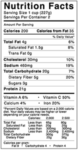 Nutritional Facts Beef Chili