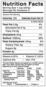 Nutritional Facts Vegan Chili